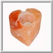 Соляная кристаллическая лампа свеча до 1кг в виде сердечка (Пакистан) фото