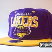 Кепка Snapback Lakers Los Angeles LA NBA сереневая с желтым фото