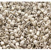 Бисер крупный серебряный металлизированный (100 г) фото