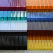 Сотовый лист поликарбоната ( канальныйармированный) 10мм. Цветной. фото