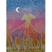 """Декоративная """"Ночь в саванне. Жирафы """" фото"""