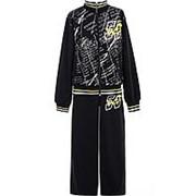 Стильный бархатный костюм черного цвета 14 фото