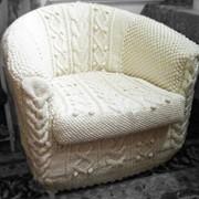Вязаный чехол на кресло фото