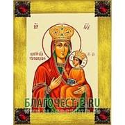 Благовещенская икона Туркавицкая Богородица, копия старой иконы, печать на дереве, золоченая рамка, стразы Высота иконы 18 см Красные стразы фото