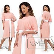 Платье женское свободного кроя с контрастным поясом (3 цвета) - Розовый ЮГ/-07 фото