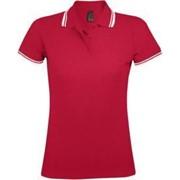 Рубашка поло женская PASADENA WOMEN 200 с контрастной отделкой красная с белым, размер L фото