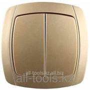 Выключатель Светозар Акцент двухклавишный в сборе, цвет золотой металлик, 10А/~250В Код:SV-54234-GM фото
