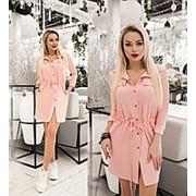 Платье женское с кулиской по талии (6 цветов) ТК/-1236 - Пудровый фото