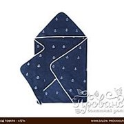 Полотенце-уголок для новорожденных Soft Cotton MARINE хлопковая махра синий 80х80 фото