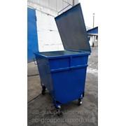 Бак для мусора с крышкой металлический 1100 литров, задняя загрузка фото