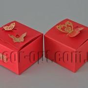 Коробочка красная малая с бабочкой 6,5х6,5х4,5см 570627 фото