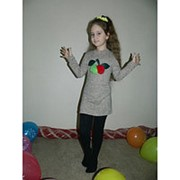 """Платье для девочки """"Яблоки и черешни"""" с мехом фото"""