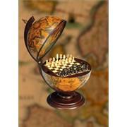 Настольный глобус SANTELLI Италия с шахматами 33 см. коричневый фото