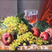 Натюрморт Виноград с яблоками фото