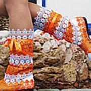 Сапоги макраме оранжево-белые фото