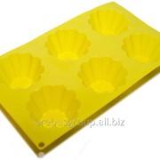Форма для выпечки Корзиночки 6 штук на форме 290 х 170 х 36 мм. фото