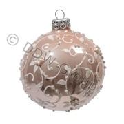 Шар стекл. розовый с завитками цветов d8см фото