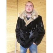 Мужская куртка из плюшевой нутрии, воротник – камышовый кот. фото