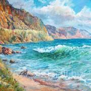 Морской пейзаж, авторская работа Минаевой Евдокии, размер 120х 80 см. фото