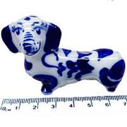 Фигура Собака такса гжель 7см фото
