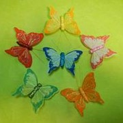 Бабочка 8см,перо,клипса (уп/12шт) фото