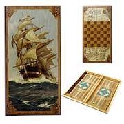 Нарды в деревянной коробке Морские фото