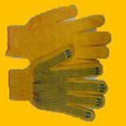 Перчатка желтая с пвх точка фото