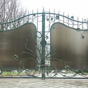 Ворота зеленые распашные №44 фото
