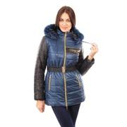 Удленненная зимняя куртка Плейн. Цвет морская волна фото
