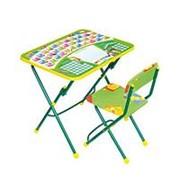 НИКА Набор мебели ПЕРВОКЛАШКА зеленый фон НИКА (стол-парта+мяг стул) h580 (КУ1/13) фото