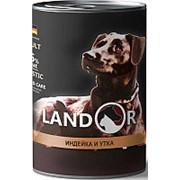 Landor 400г конс. Влажный корм для взрослых собак всех пород Индейка и утка фото