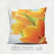 Подушка декоративная с принтом Весенние тюльпаны фото