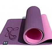 Коврик для йоги 6 мм двуслойный TPE бордово розовый FT-YGM6-2TPE-4 фото