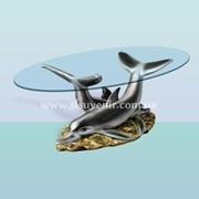 Журнальный стеклянный столик Дельфины фото