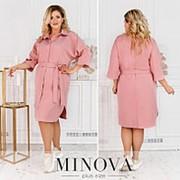 Женское платье-рубашка с поясом (4 цвета) ОМ/-815 - Розовый фото