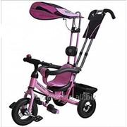 Велосипед детский трехколесный Mini trike розовый с надувными колесами фото
