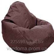 Серое кресло-мешок груша 100*75 см из микро-рогожки S-100*75 см, коричневый фото
