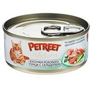 Petreet 70г конс. Влажный корм для взрослых кошек Кусочки розового тунца с сельдереем фото