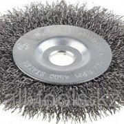Щетка Зубр Эксперт дисковая для точильно-шлифовального станка, витая стальная проволока 0.3 мм, 175/12.7мм Код:35185-175_z01 фото