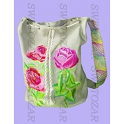 Сумка-торба женская изо льна с машинной вышивкой, модель 0541-LG фото