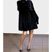 """Коллекция 2014!!! Шуба De Lux .Шикарная норковая шуба из короткошерстной норки цвета """"черный бриллиант"""" фото"""