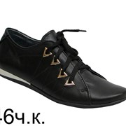 Туфли спортивные 446 черные кожа фото