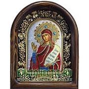 Золотошвейные мастерские, Дивеево Анна пророчица, святая, дивеевская икона ручной работы из полудрагоценных камней и бисера Высота иконы 17 см фото