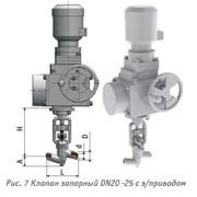 Клапан запорный DN20 -25 с э/приводом 1с-11-31э фото