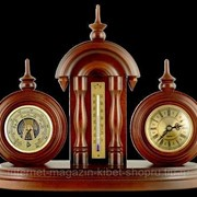 Настольные часы с термометром и барометром (Бриг) 27*36см бук, латунь, немецкий механизм Германия фото