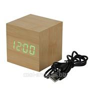 Часы будильник деревянный Куб фото