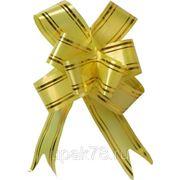 Бант бабочка упаковочный 18см золотая полоска фото