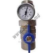 """Шаровой кран с термометром 1/2"""" синий рычяг (17410100008) фото"""