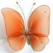 Бабочка большая для штор и тюлей, цвет морковный 20*18 см фото