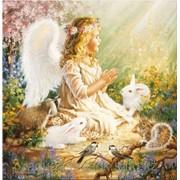 Картина стразами Ангел с кроликами 50х50 см фото